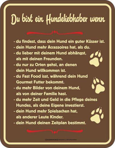 Rahmenlos Blechschild für Hundeliebhaber