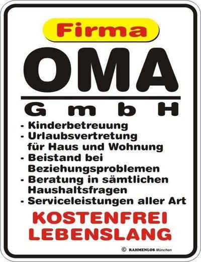 Rahmenlos Blechschild für die liebevolle Großmutter »Oma GmbH«