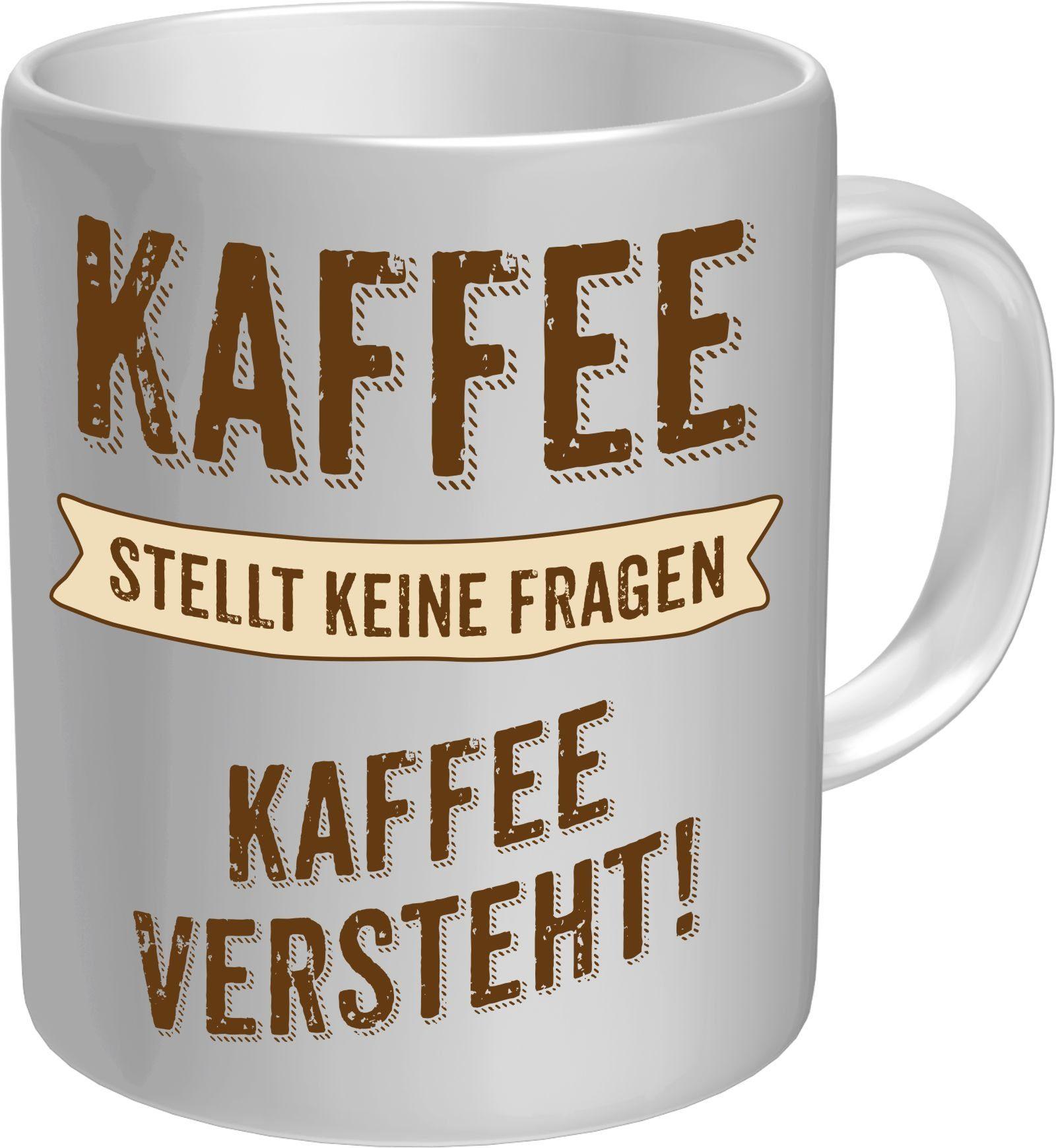 Rahmenlos Kaffeebecher mit witzigem Spruch im Geschenkkarton
