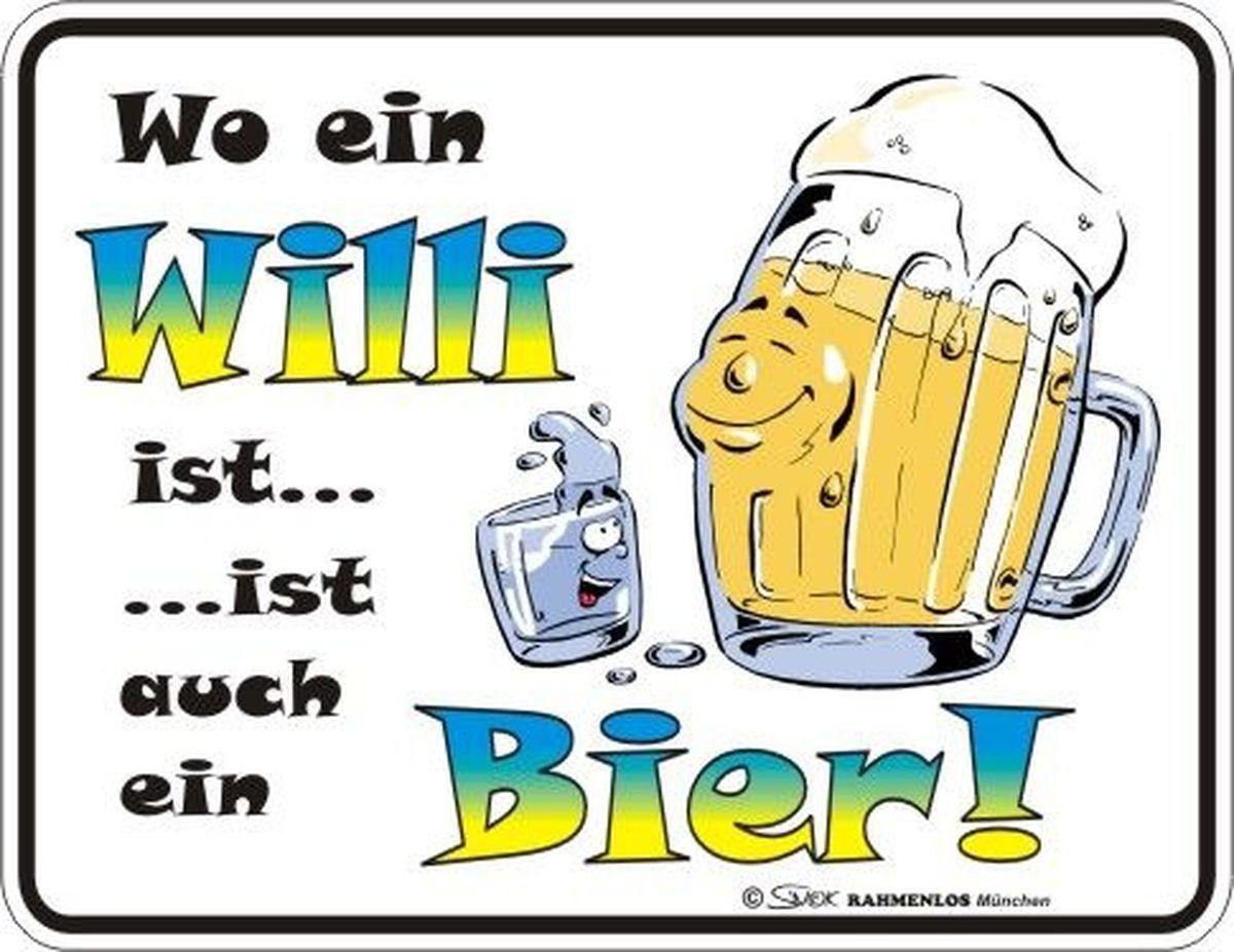 Rahmenlos Blechschild mit lustigem Bier-Druck
