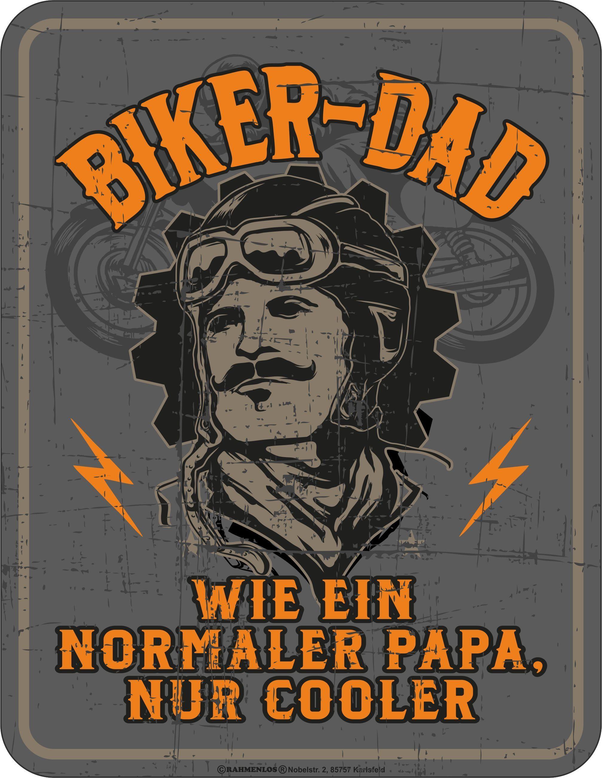 Rahmenlos Blechschild mit coolem Biker-Aufdruck