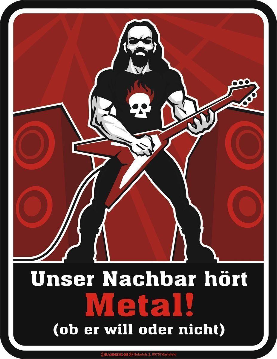 Rahmenlos Blechschild für Metal-Fans