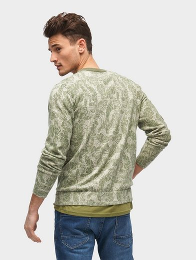 Tom Tailor Crew-neck Pullover Sweater With Leaves-print