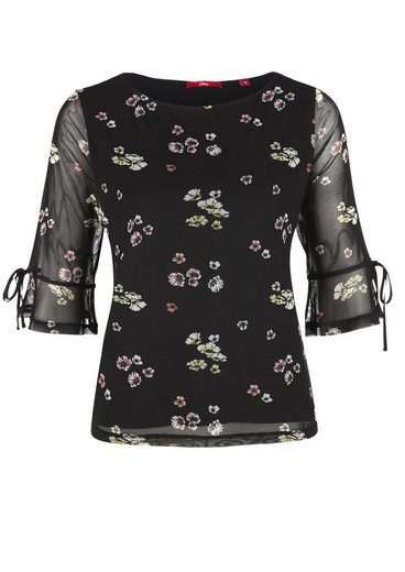 s.Oliver RED LABEL Mesh-Shirt mit Blumenmuster