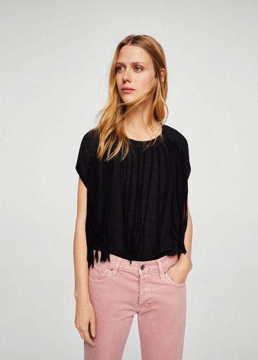 MANGO Baumwoll-T-Shirt mit Fransen