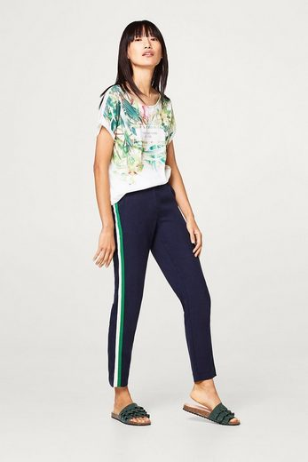 ESPRIT Leichtes Blusen-Shirt aus Material-Mix mit Print