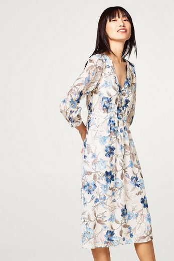 ESPRIT COLLECTION Midi-Kleid mit Jacquardmuster und Blumen-Print
