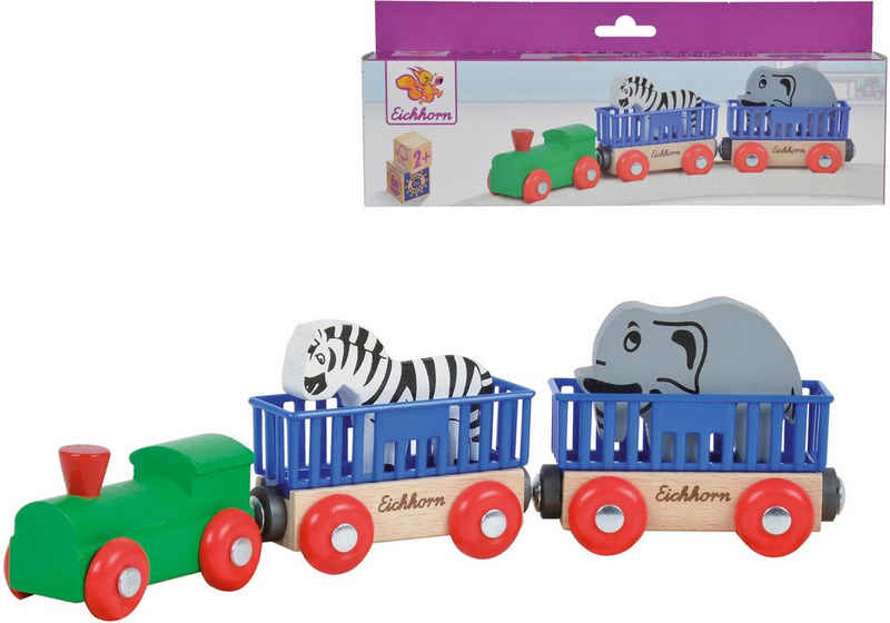 Eichhorn Spielzeug-Eisenbahn »Tierzug, 5-tlg.«, (Set, 5-tlg), aus Holz; Made in Europe, FSC®-Holz aus gewissenhaft bewirtschafteten Wäldern
