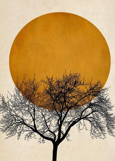 living walls Fototapete »ARTist Wintermorgen«, (Set, 2 St), Mond, Vlies, glatt