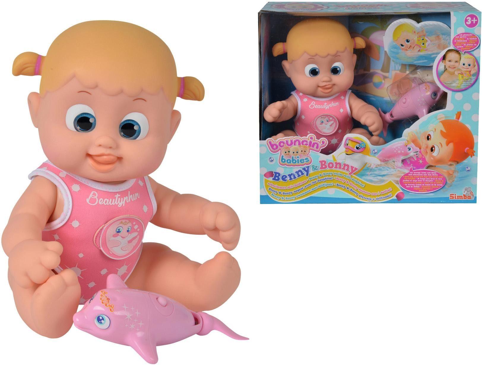 Simba Puppe mit Funktion, »Bouncin' Babies, Bonny schwimmt mit Delfin«