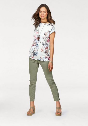 Clarina Blusenshirt, Blusen Shirt Material-Mix Blumen-Print