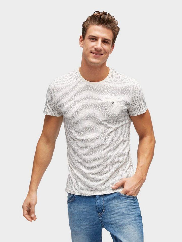 tom tailor t shirt gemustertes t shirt mit brusttasche. Black Bedroom Furniture Sets. Home Design Ideas