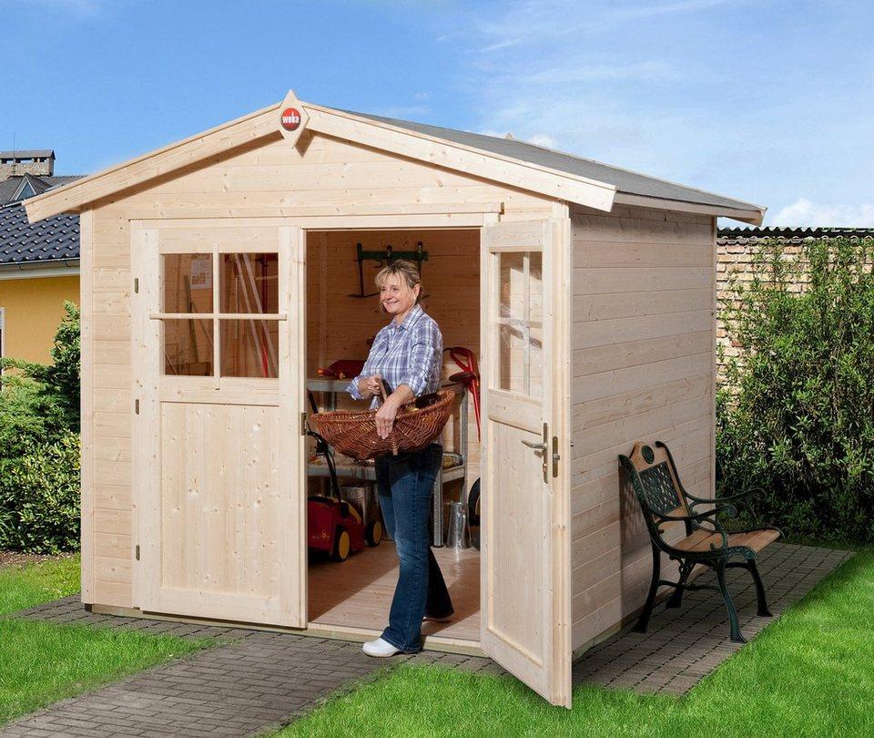 weka gartenhaus 224 gr 2 bxt 280x229 cm inkl fu boden aus naturbelassenem fichtenholz. Black Bedroom Furniture Sets. Home Design Ideas