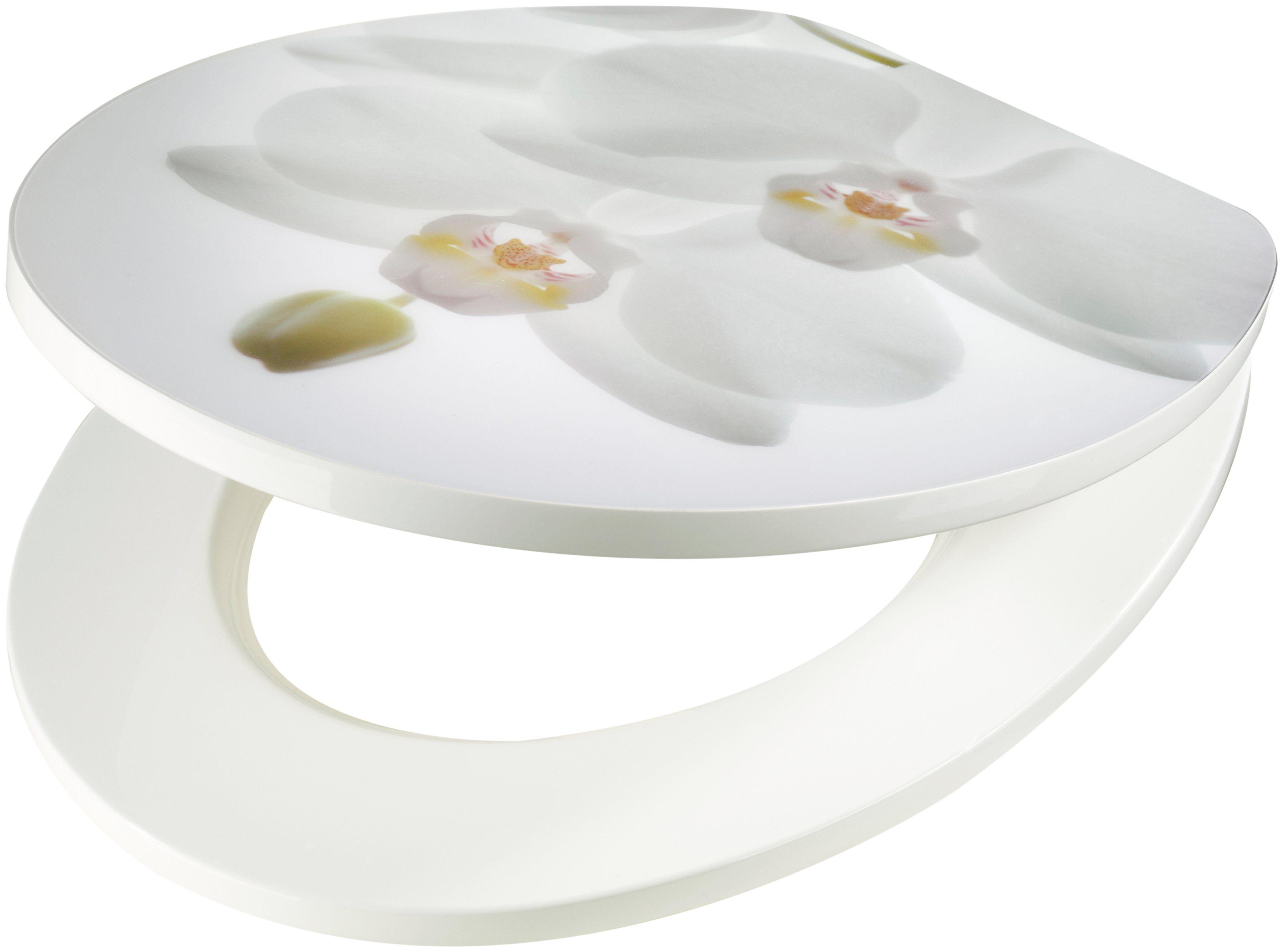 WC-Sitz »Orchidee weiß«, MDF Toilettensitz mit Absenkautomatik