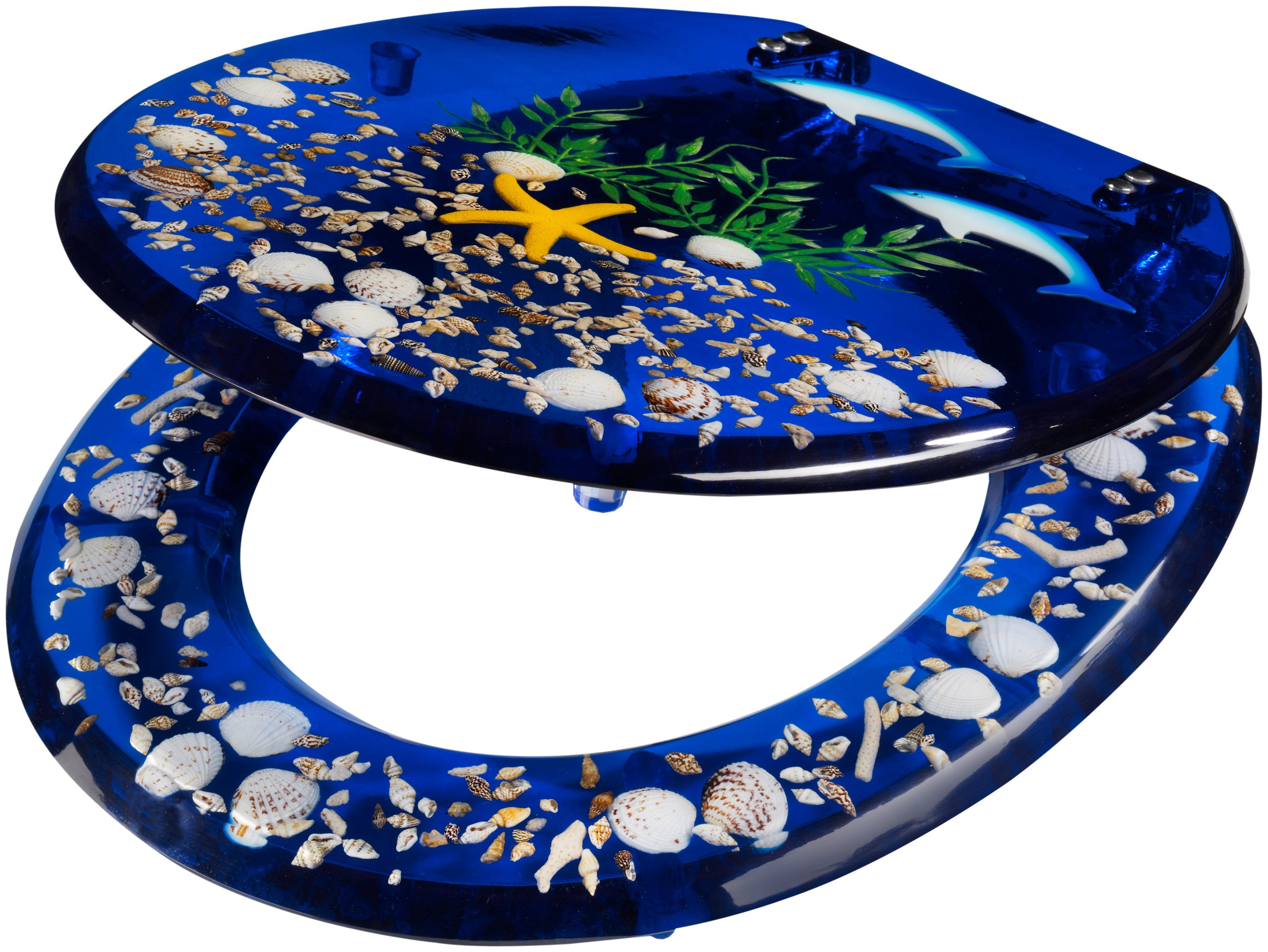 WC-Sitz »Delfin«, Toilettensitz mit eigelegten Meeresmotiven