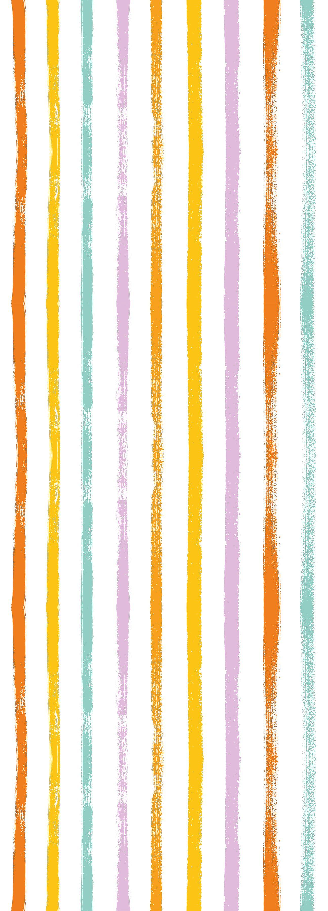 QUEENCE Vinyltapete »Streifen-Bunt«, 90 x 250 cm, selbstklebend