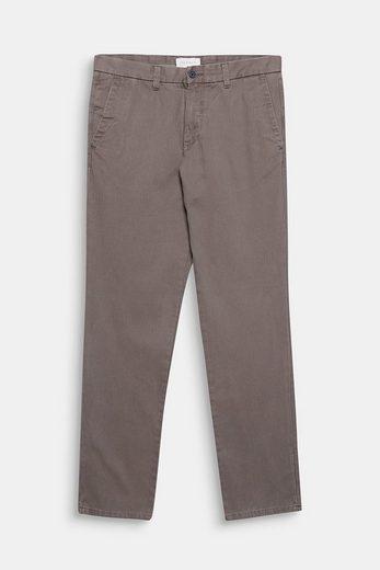ESPRIT COLLECTION Baumwoll-Hose mit Fischgrat-Muster