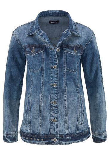 eksept Jeansjacke EDGE JACKET, mit Badges am Rücken