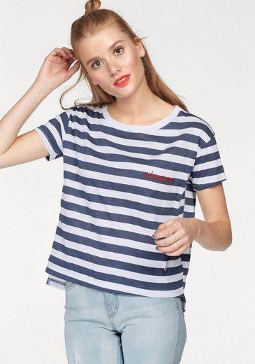 Streifen design Weiß Please Rundhalsshirt Im marine Jeans gestreift g6f7yYb