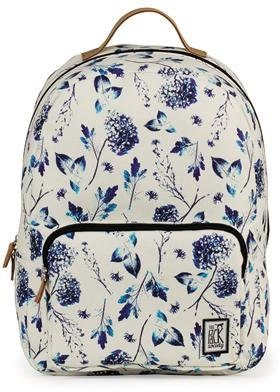 The Pack Society Rucksack mit Laptopfach, »Backpack Cool Prints, Off White Blue Flower Allover«