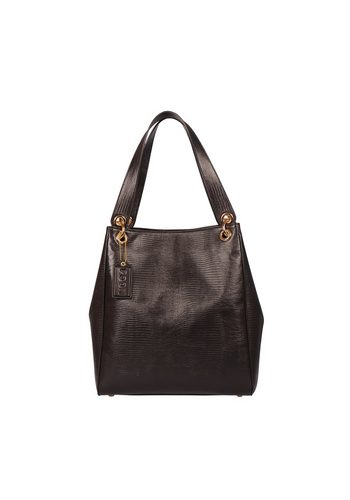 Damen POON Switzerland Handtasche mit Echsenprägung braun | 00635346777370