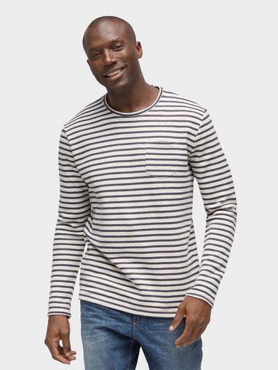 Tom Tailor Langarmshirt gestreiftes Langarmshirt mit Brusttasche