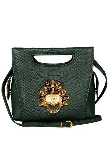Damen Silvio Tossi Hand- und Schultertasche mit Reptilienprägung grün   00634154730461