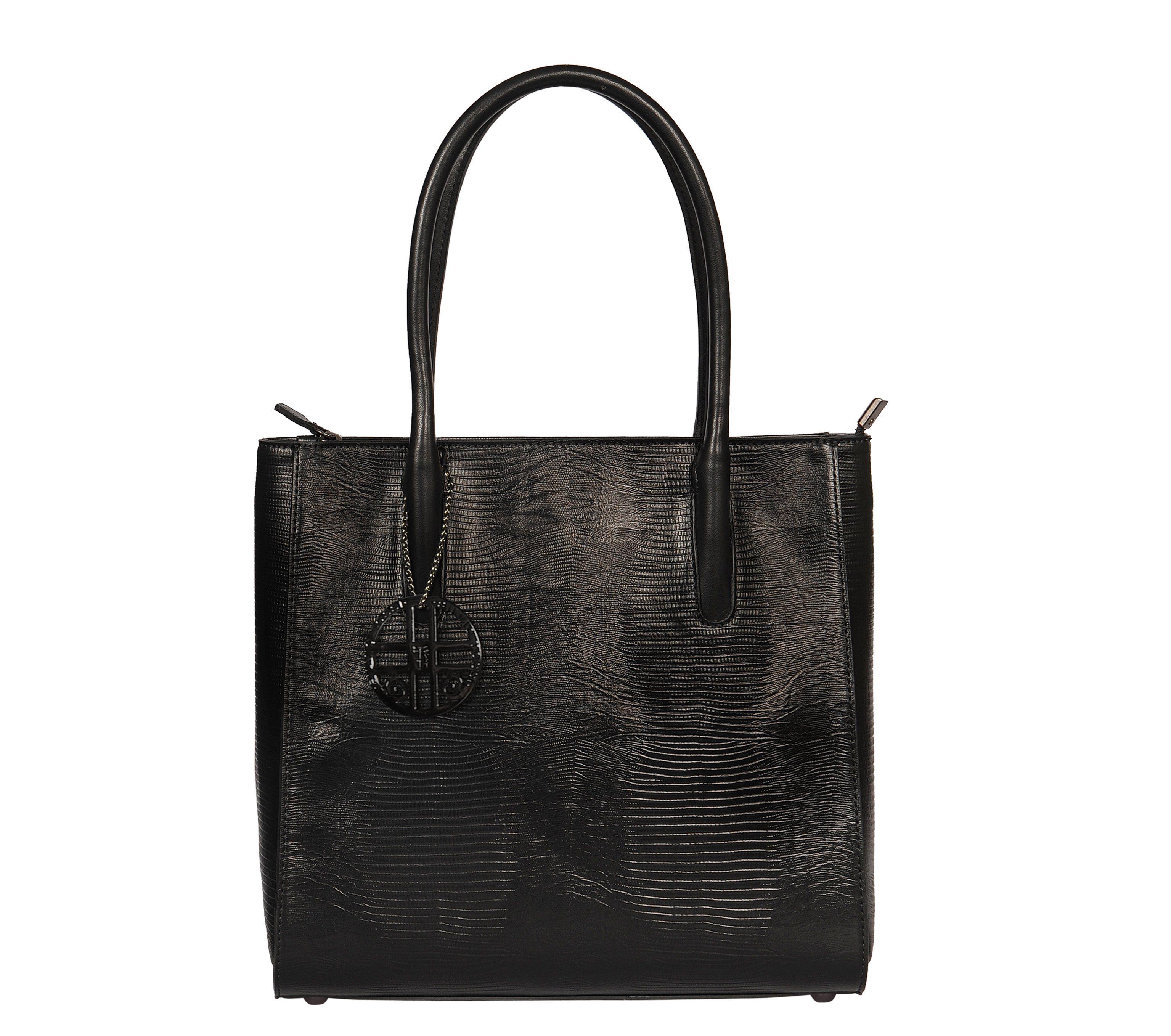 Silvio Tossi Handtasche im Echsen-Design mit Markenanhänger