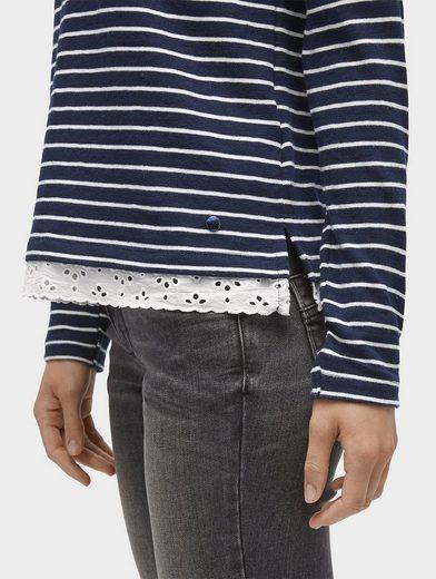 Tom Tailor Langarmshirt gestreiftes Shirt mit Spitze