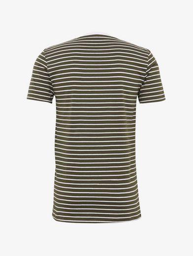 Tom Tailor Denim T-Shirt gestreiftes T-Shirt mit Schriftzug