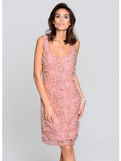 Alba Moda Jerseykleid mit Blumenstickerei und Fransen