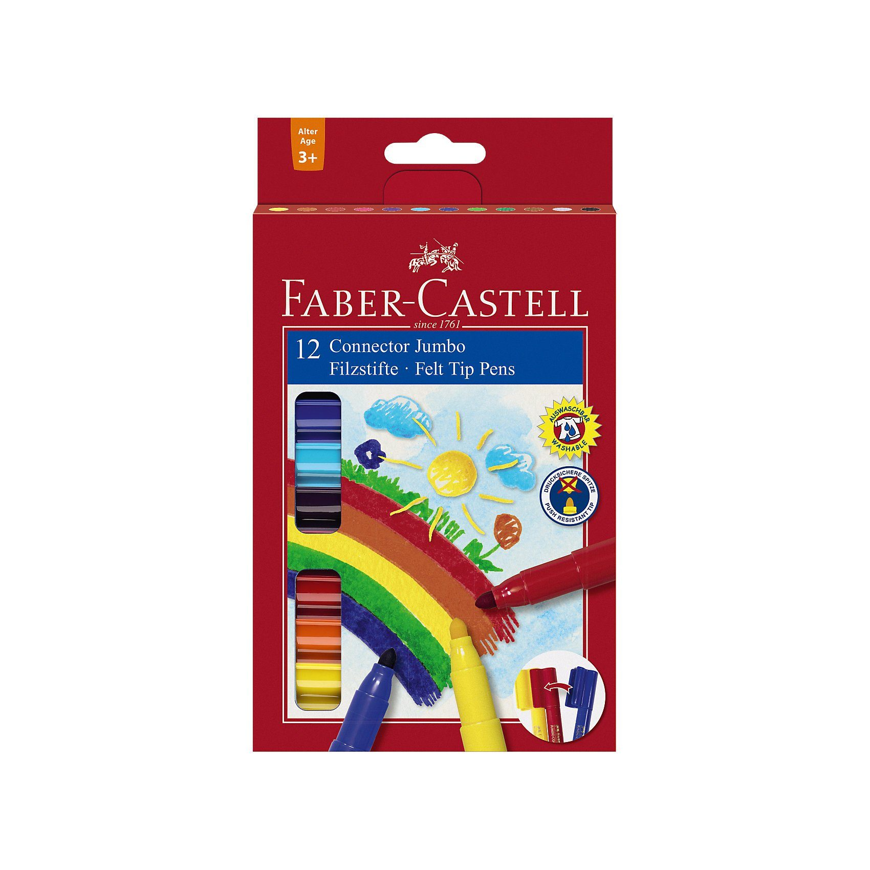 Faber-Castell CONNECTOR Pen Kleinkind JUMBO Filzstifte, 12 Farben