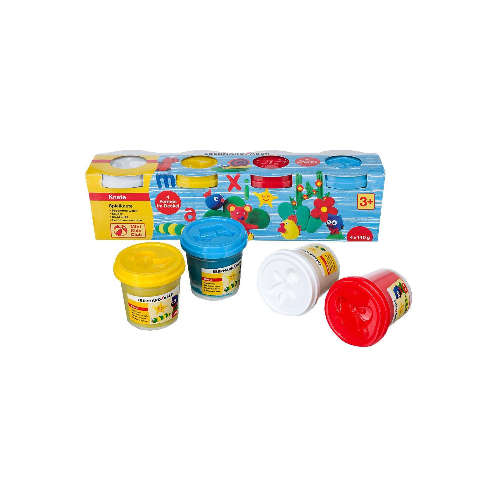 Eberhard Faber Mini Kids Spielknete Basisfarben, 4 x 140 g