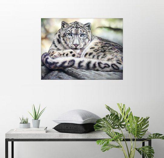 Posterlounge Wandbild - TBril Art »Schneeleopard«