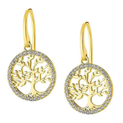 LOTUS SILVER Paar Ohrhänger »JLP1746-4-2 Lotus Silver Lebensbaum 925 SILBER« (Ohrhänger), Ohrhänger für Damen 925 Sterling Silber, gold, weiß