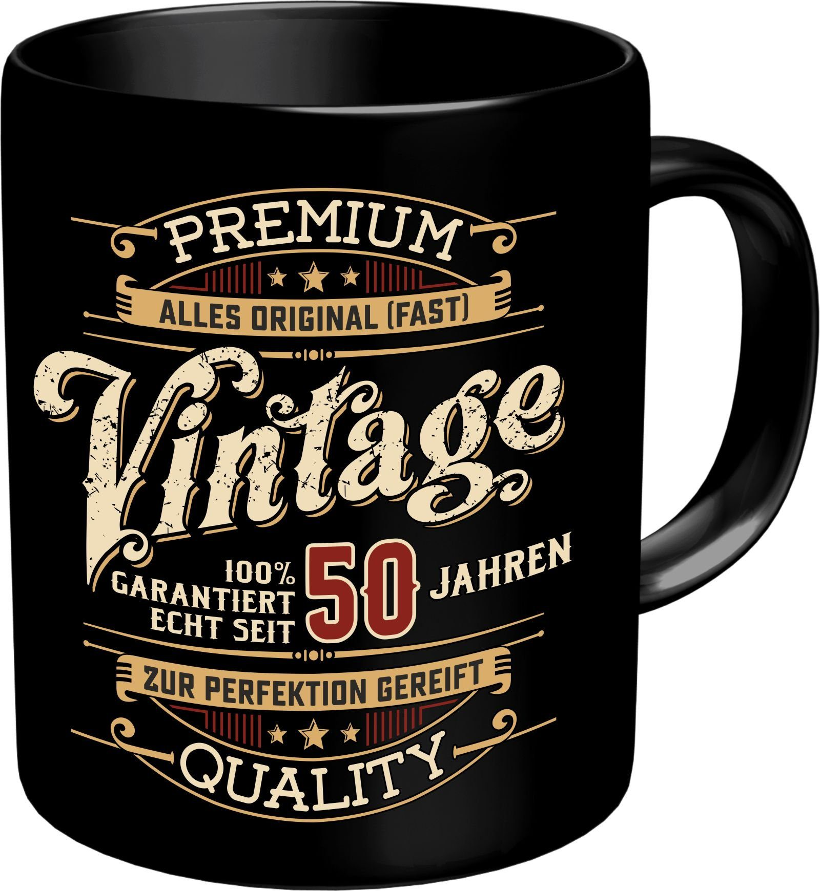 Rahmenlos Kaffeebecher zum 50. Geburtstag im Geschenkkarton