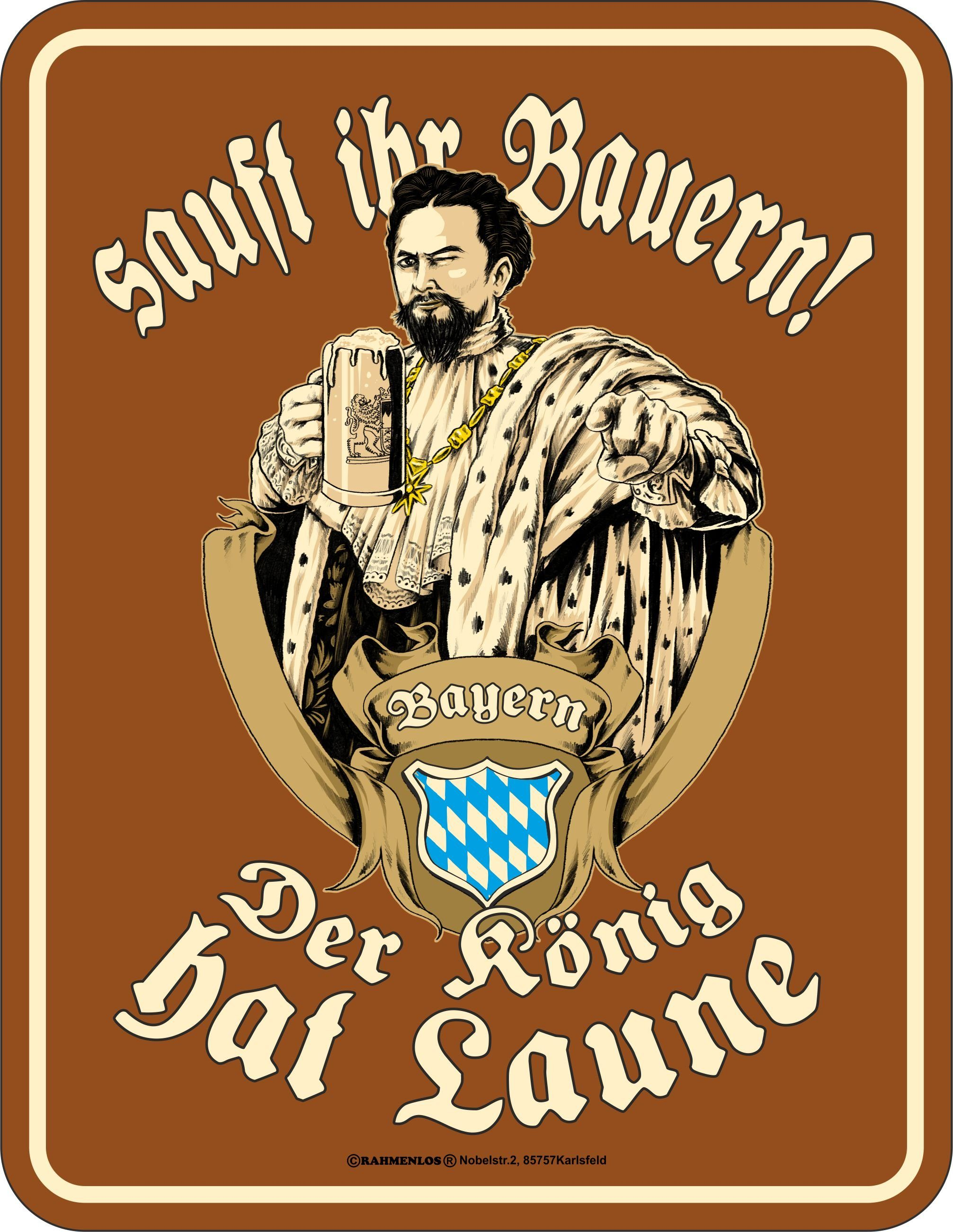 Rahmenlos Blechschild für den königstreuen Bayern-Fan