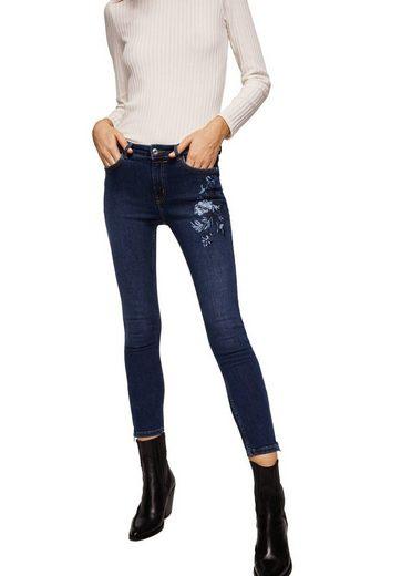 MANGO Slim Jeans mit Blumenstickerei