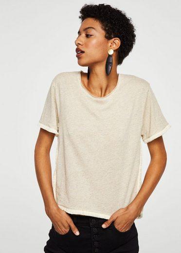 MANGO Leinen-T-Shirt mit Borten