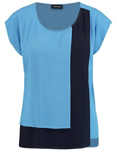 Taifun Bluse Kurzarm Blusenshirt mit Colorblocking