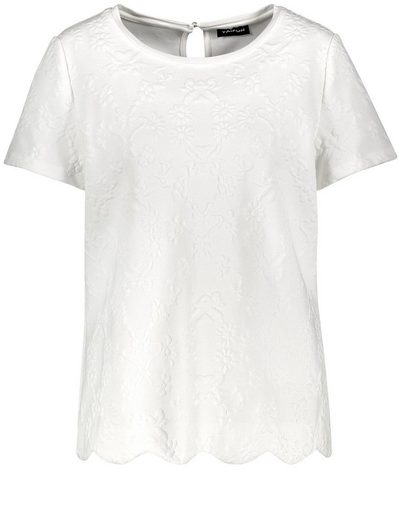 Taifun T-Shirt Kurzarm Rundhals Shirt mit Jacquardmuster