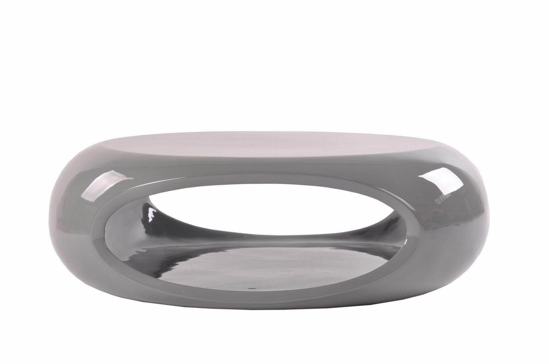 Trendiger Couchtisch oval mit Ablagefläche grau »Ufo«