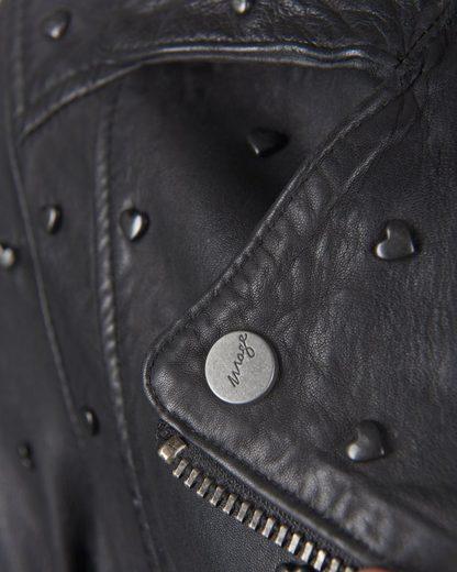 MAZE Biker-Lederjacke mit asymmetrischem Reißverschluss Heart