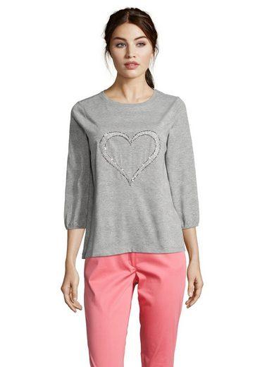 Betty Barclay Rundhalsshirt mit Herz aus Pailletten