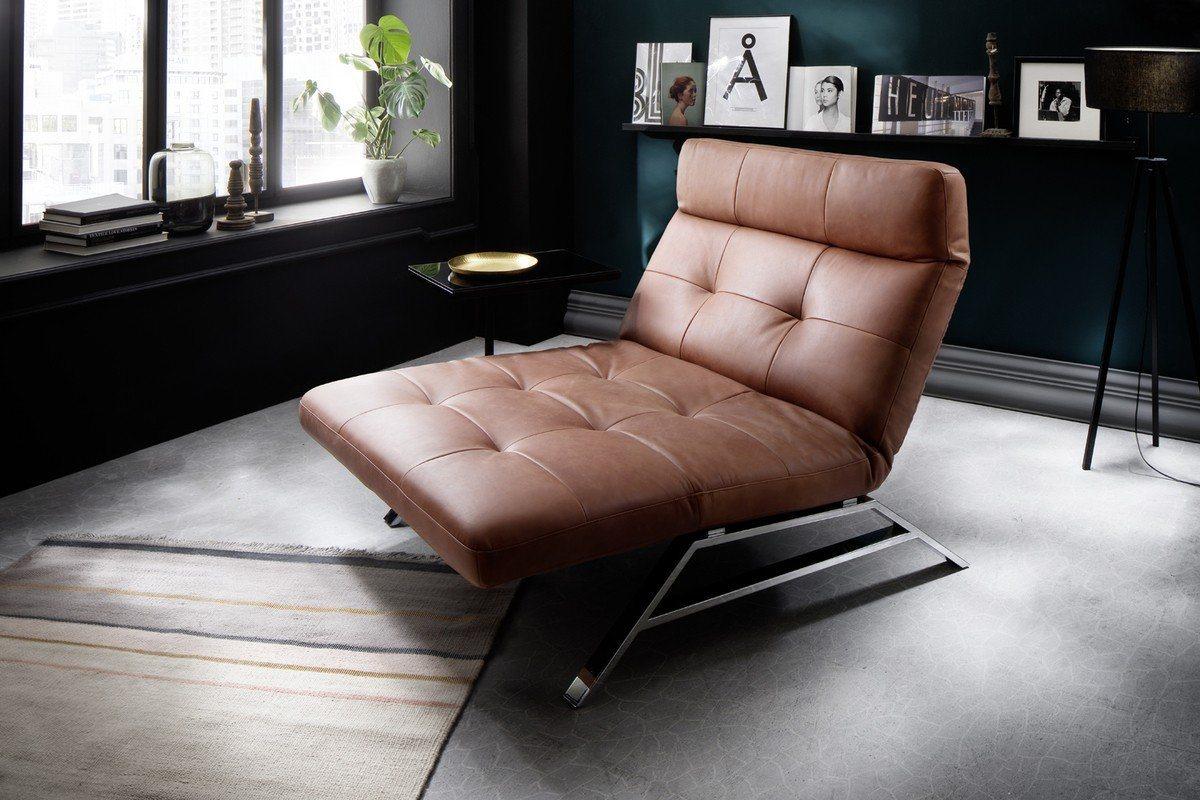 Kasper-Wohndesign Sessel Relaxliege Leder brandy »AMERIVA« | Wohnzimmer > Sessel > Relaxliegen | Braun | Leder - Stahl | Kasper-Wohndesign