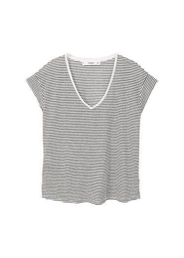 MANGO Gestreiftes Leinen-T-Shirt