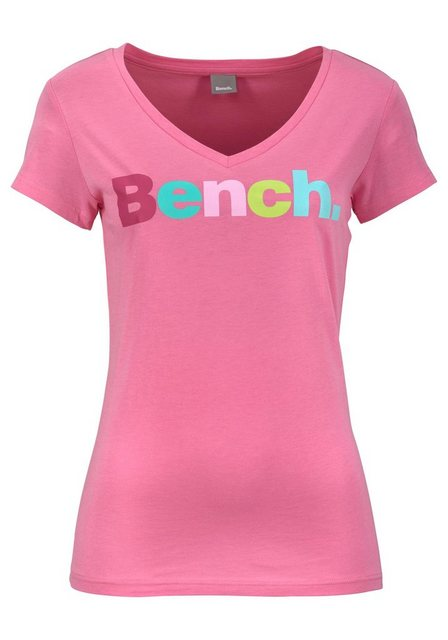 Damen Bench T-Shirt mit Logo-Applikation rosa | 05054577850952