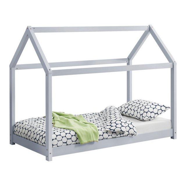 Kinderbetten - en.casa Kinderbett, Kinderbett 70x140cm Haus Kiefernholz Hellgrau Bettenhaus Hausbett Kinder Bett »  - Onlineshop OTTO