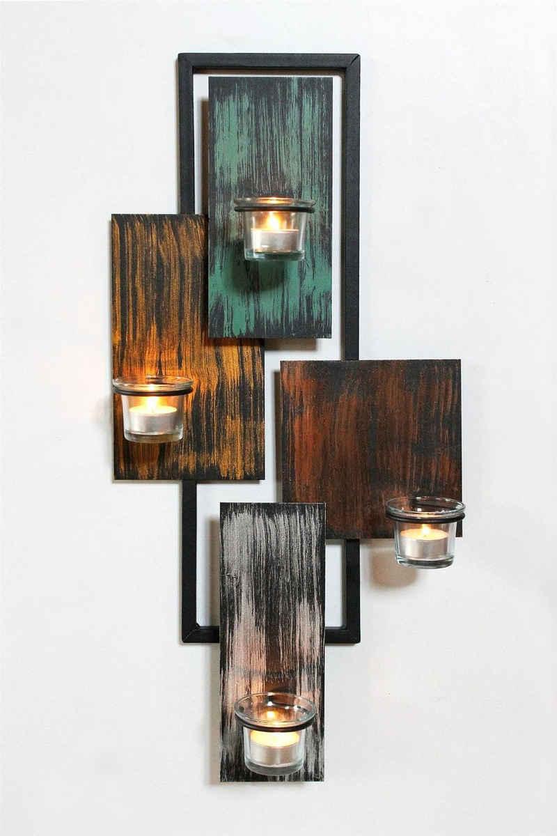 DanDiBo Teelichthalter »DanDiBo Wandteelichthalter Abstrakt Metall Wand Schwarz 61 cm Teelichthalter Kerzenhalter Wandkerzenhalter Wandleuchter«, handgefertigt, aus Eisen, aus Metall, hochwertige Verarbeitung