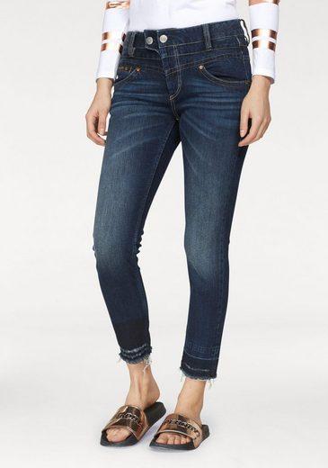 Herrlicher Slim-fit-Jeans »BIJOU CROPPED« High Waist mit offenen ausgefransten Saumabschlüssen